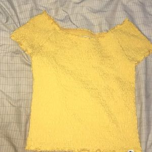 Yellow ruffled off the shoulder top